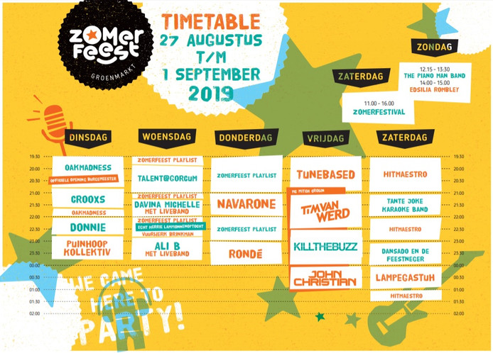 Timetable van het Zomerfeest op de Groenmarkt in Gorinchem.