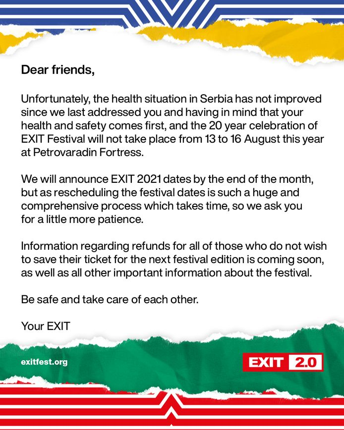 De boodschap van de organisatie van het Exit Festival.