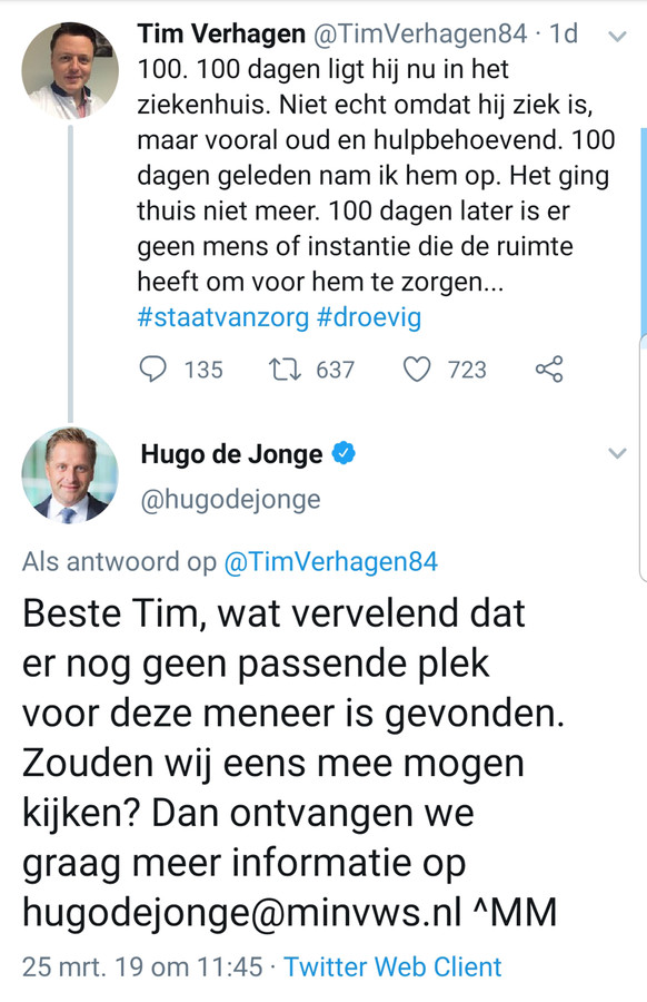 Tweet van Tim Verhagen van ZGT met antwoord van Hugo de Jonge.