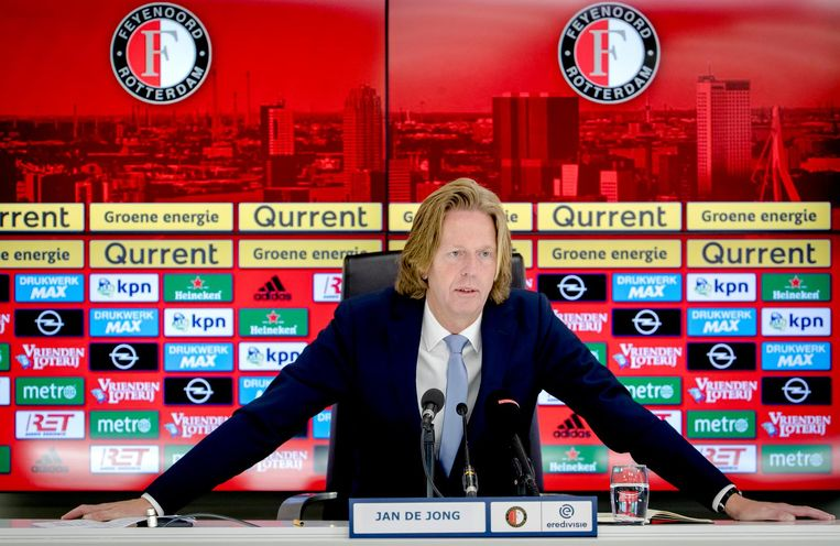 Jan de Jong tijdens de persconferentie waarin Feyenoord hem presenteert als opvolger van algemeen directeur Eric Gudde. Beeld anp