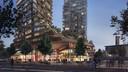Impressie van het plan District E van projectontwikkelaar/belegger Amvest en bureau Powerhouse Company/ZUS | Zones Urbaines Sensibles voor het Stationsplein in Eindhoven.