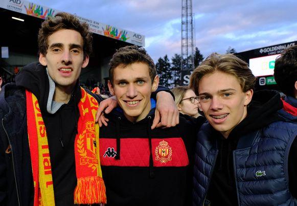 KV-supporters Lucas, Rune en Maxime