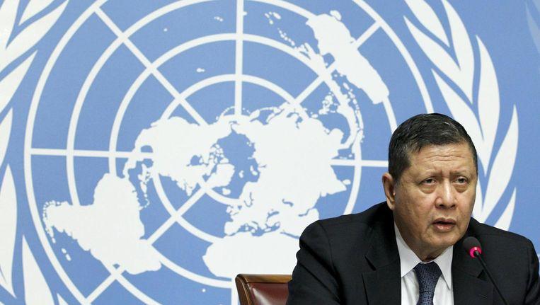 VN-rapporteur Marzuki Darusman tijdens een conferentie over mensenrechten in Noord-Korea Beeld null