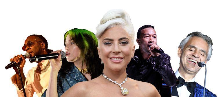 Lady Gaga, met achter zich Burna Boy, Billie Eilish, John Legend en Andrea Bocelli. Beeld Getty