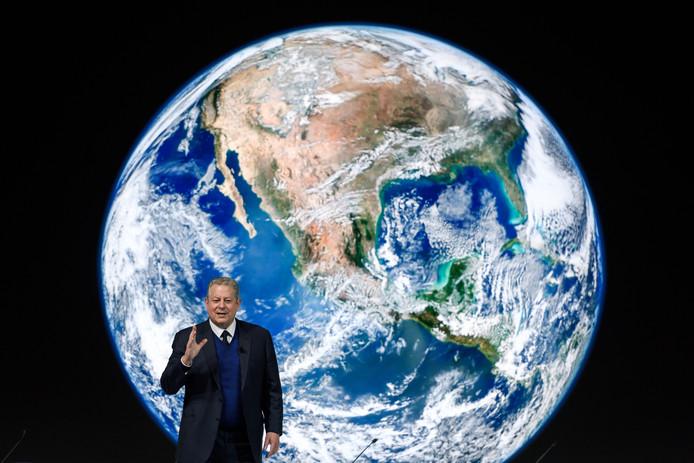 Al Gore op het World Economic Forum in Davos waar het klimaat dit jaar hoofdonderwerp van gesprek was.