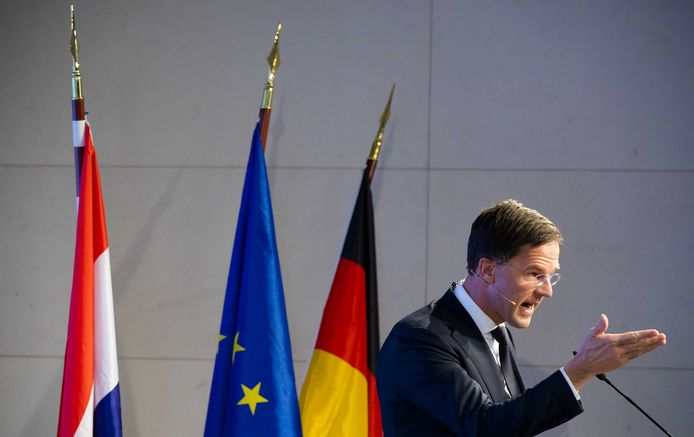 Minister-president Mark Rutte, tijdens zijn Europa-lezing in Berlijn.
