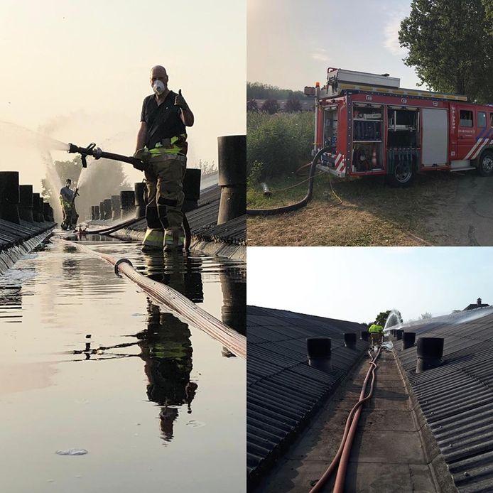 Brandweer koelt varkensstallen in Gewande tijdens stroomstoring.