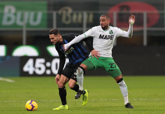 Kevin-Prince Boateng in actie namens Sassuolo tegen Internazionale.