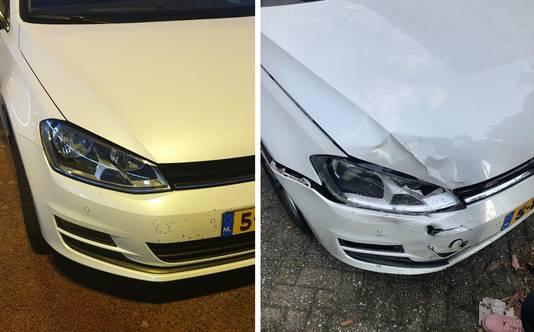 Voor en na: de schade aan de auto van het gezin uit Emmeloord was behoorlijk.