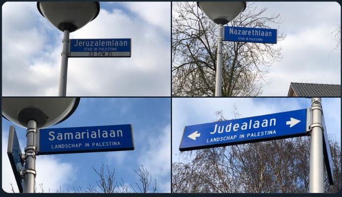 Straatnaambordjes in de Eindhovense wijk Vlokhoven leiden tot heftige kritiek op de gemeente Eindhoven vanwege de onderbordjes 'plaats in Palestina'.