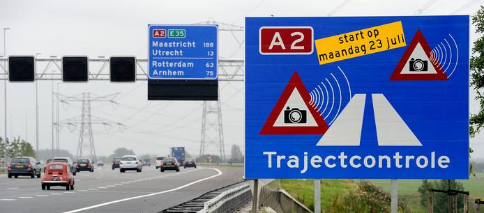Trajectcontrole op de A2.