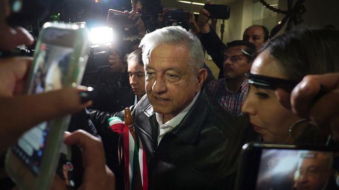 De Mexicaanse president Andrés Manuel López Obrador vrijdag terwijl hij de pers te woord staat.
