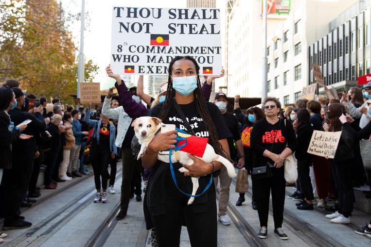 Een protestmars in Sydney, Australië, op 6 juni. Beeld Icon Sportswire