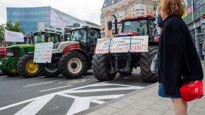 Landbouwers protesteren op Schumanplein