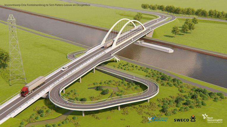 Een beeld van het voorontwerp van de toekomstige Drie Fonteinenbrug over het Kanaal.