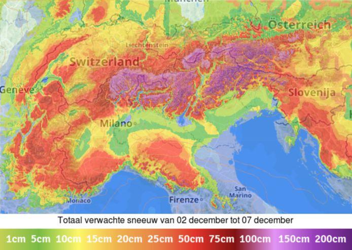 In de Alpen kan er tot meer dan 200 cm sneeuw vallen aan de zuidkant.