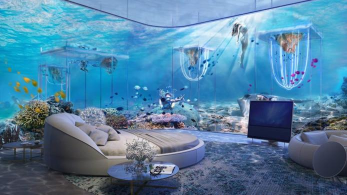 In het op Venetië geïnspireerde eiland komen villa's met onderwaterkamers waar vanuit het kunstmatig aangelegde koraalrif te zien is.