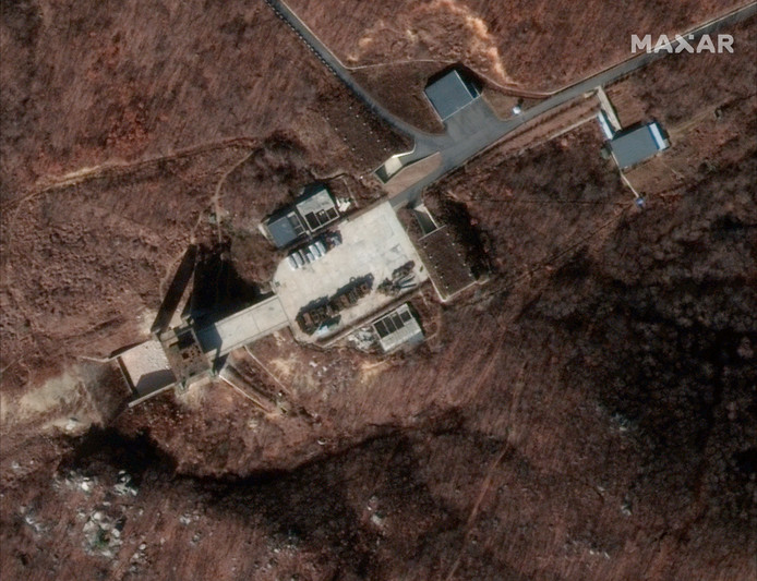 De weer actieve nuclaire testbasis van Noord-Korea in Sohae.