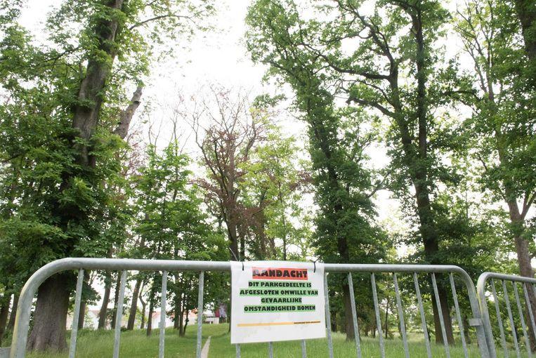 Een deel van het park werd afgesloten met dranghekken.