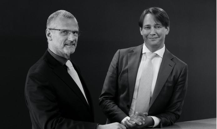 Casper de Nooijer (r.) is tot algemeen directeur benoemd van Audax. Hubert de Leeuw blijft bestuursvoorzitter.