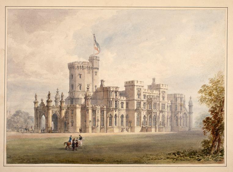 Ontwerp voor een koninklijk paleis op landgoed Zorgvliet, Den Haag, Henry Ashton, 1838. Beeld Collectie Koninklijke Verzamelingen, Den Haag