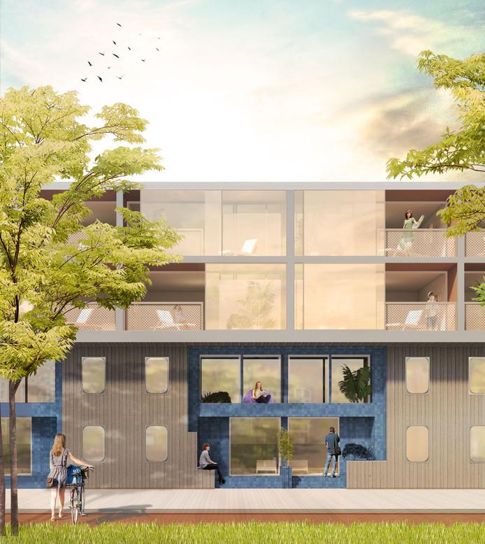 De lage vleugel van de nieuwbouw aan de Burgemeester Brokxlaan. De vierde verdieping wordt aan de achterzijde (Lange Nieuwstraat) vier meter smaller.
