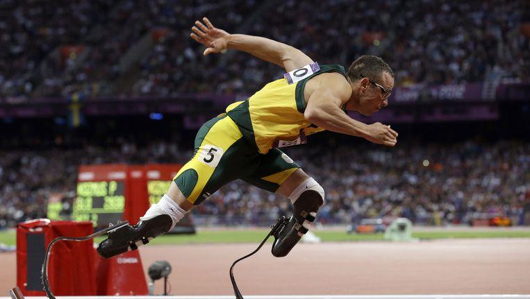 Oscar Pistorius in actie tijdens de 400 meter op de Olympische Spelen in Londen.