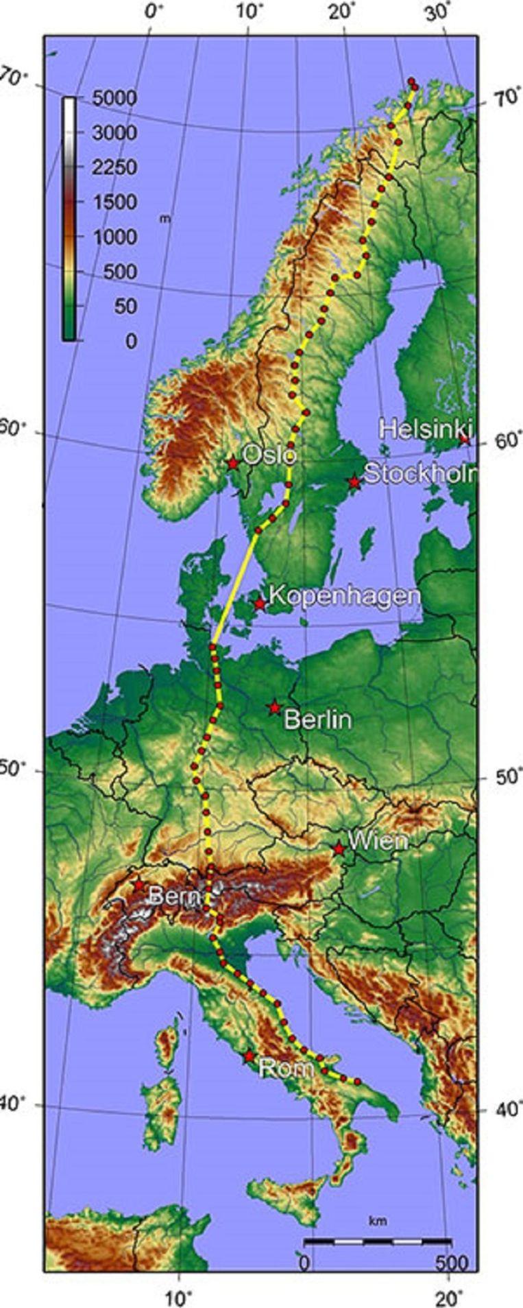 Het parcours van de Trans Europe Foot Race. Beeld Radiologisch instituut rsna