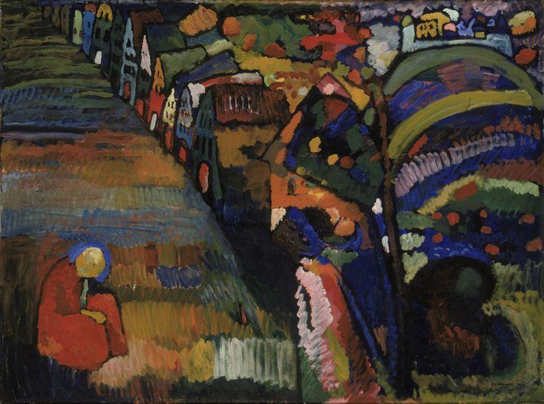 Bild mit Häusern van Wassily Kandinsky Beeld Stedelijk