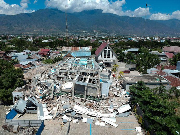 De verwoesting is groot in Palu, Sulawesi