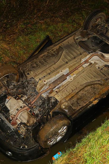 Beschonken bestuurder zonder rijbewijs verliest controle, slaat over de kop en belandt in sloot