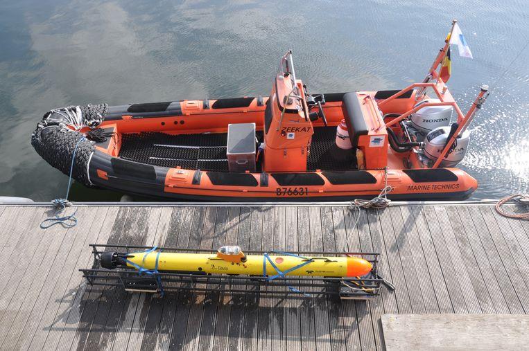 Een van de onderwaterrobots van het VLIZ, die vernoemd zijn naar bekende stripprofessors. Het toestel op de foto heet Barabas.