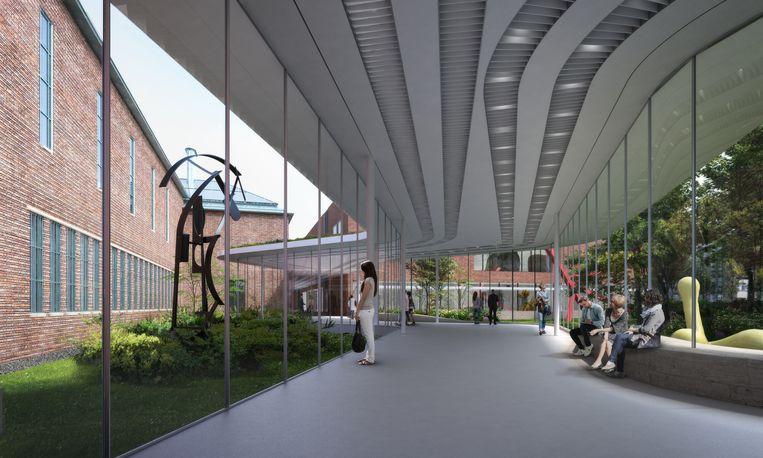 Ontwerp van de 'meanderende passage' tussen de bestaande gebouwen van Museum Boijmans Van Beuningen. Beeld Mecanoo
