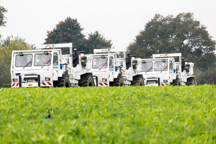 De vibrotrucks voor onderzoek naar aardwarmte, zijn voorlopig niet meer te zien in Zuidoost-Brabant.