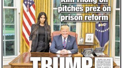 """Drie kontgrappen op één cover: tabloid gaat over de tongen na """"zielige"""" voorpagina over ontmoeting Donald Trump en Kim Kardashian"""