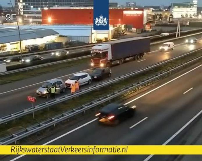 Drie op een rij op de A2 bij Eindhoven richting Den Bosch.