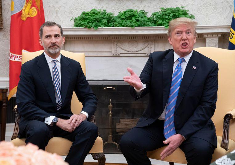 Donald Trump met de Spaanse koning Felipe in het Witte Huis in juni van dit jaar.