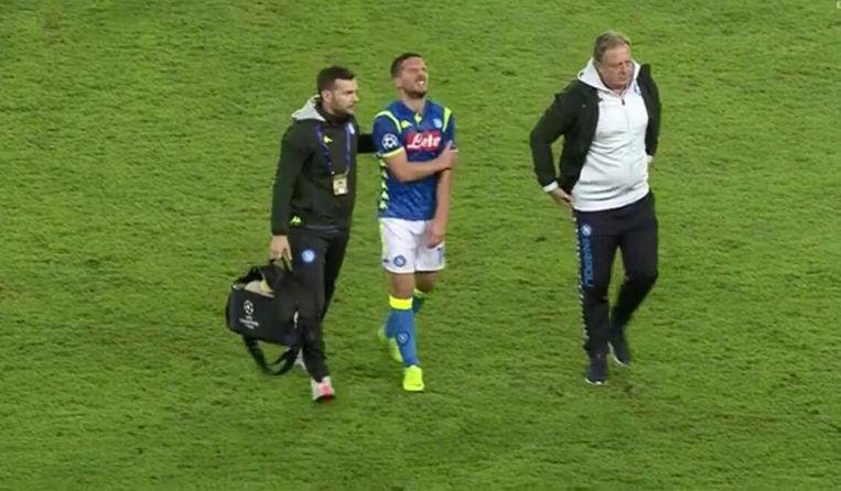 Dries Mertens schouderblessure na Napoli-PSG... screenshot Twitter