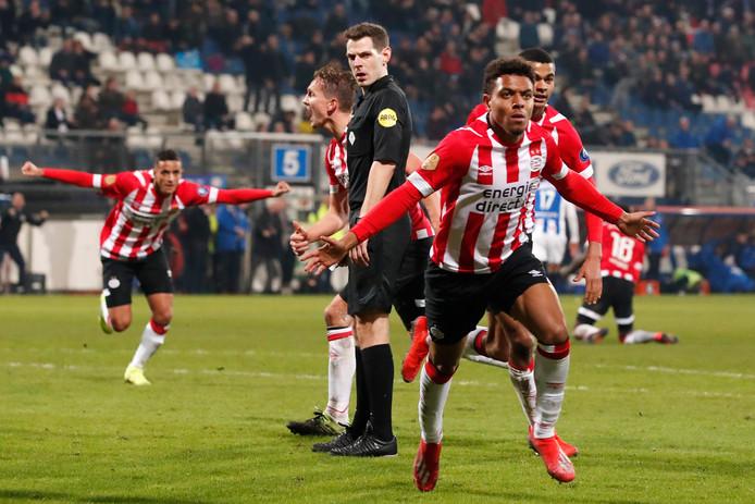 Donyell Malen na zijn 2-2 voor PSV in Heerenveen.
