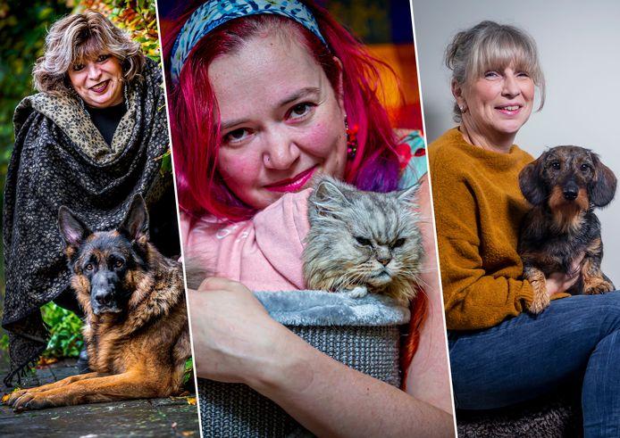 Lucie en hond Rocca (links), Ellen en kat Charley (midden) én Carola en hond Sjors (rechts).