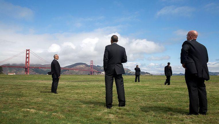 President Obama wacht in San Francisco op Marine One, de presidentiële helikopter. Beeld White House Photo