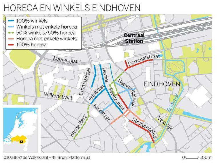 De binnenstad van Eindhoven. Beeld