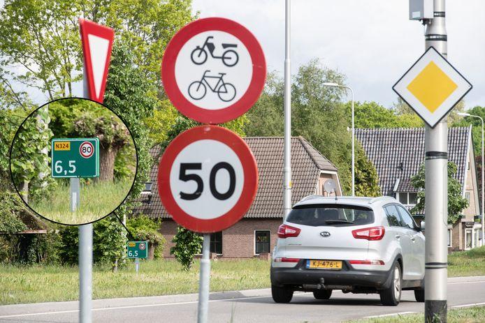 Op de Graafseweg in Alverna mag deels 50, deels 80 kilometer per uur worden gereden.