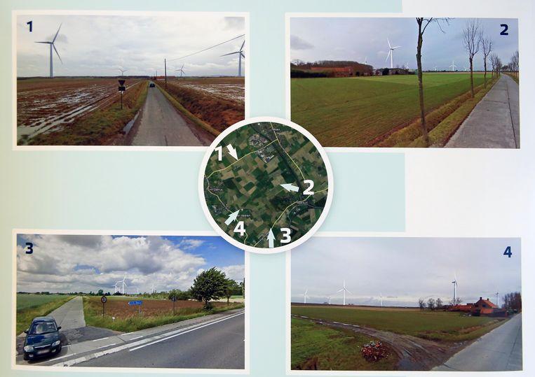 Elke turbine staat in een uitgestrekt, groen landschap.