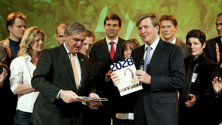 André Bolhuis (links)met kroonprins en IOC-lid Willem-Alexander. Beeld ANP