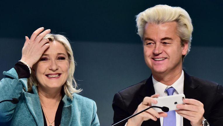 Marine Le Pen en Geert Wilders tijdens een persconferentie in januari 2016. Beeld afp