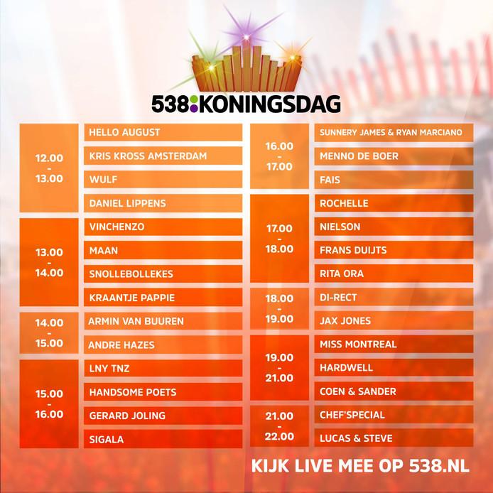 Tijdschema van #538koningsdag Breda 2018
