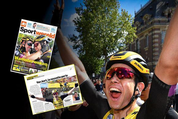 Wout van Aert won de rit met aankomst in Albi en die zege kreeg ook de nodige aandacht in het buitenland...