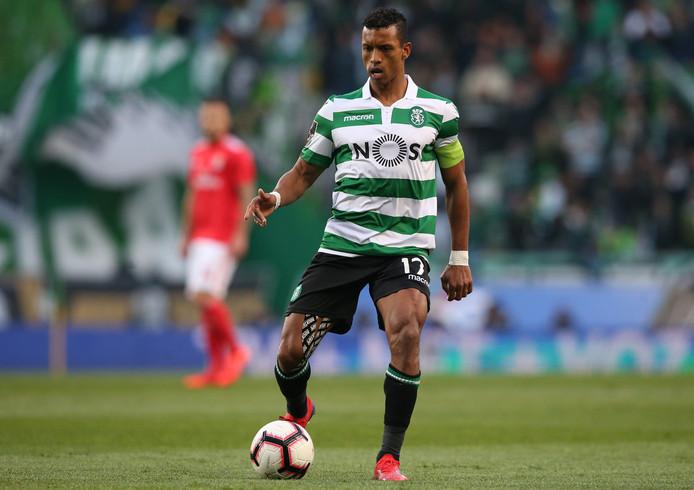 Nani in actie namens Sporting Lissabon in de derby tegen Benfica op 3 februari.