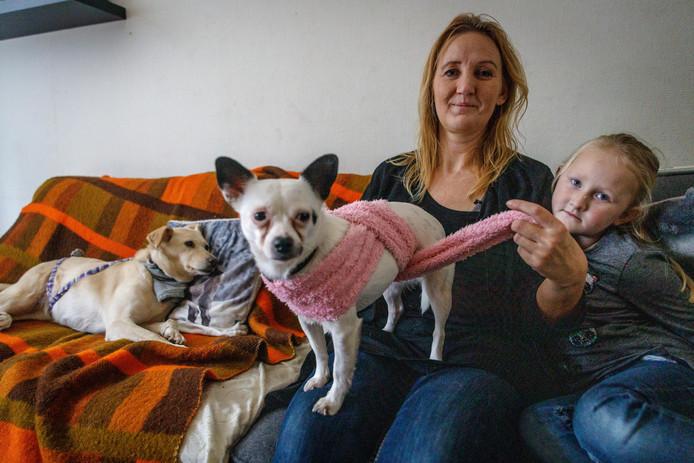 Miranda laat zien hoe ze een van haar hondjes inbakert.